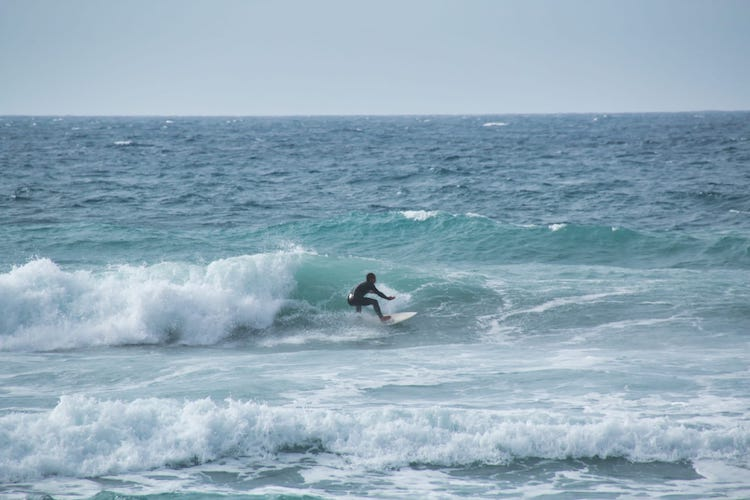 My friend surfing at the west coast of Fuerteventura
