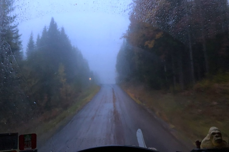 Driving through the drizzly weather