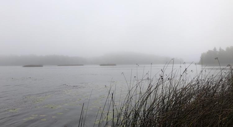 Lake Vällen covered in fog