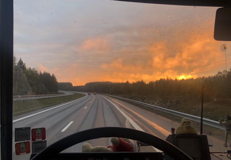 Sunset above the highway