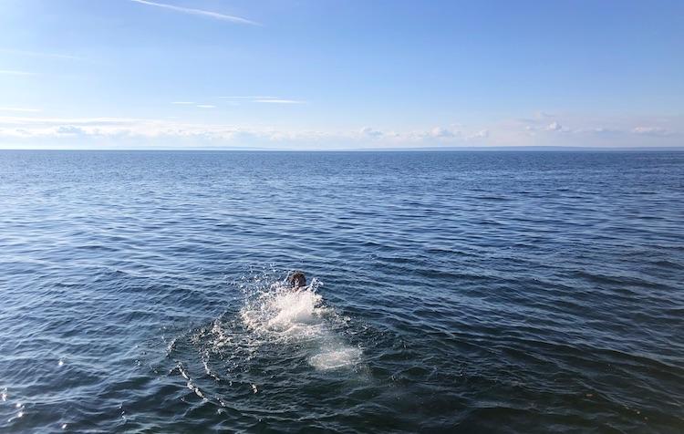 Taking a swim in Vättern