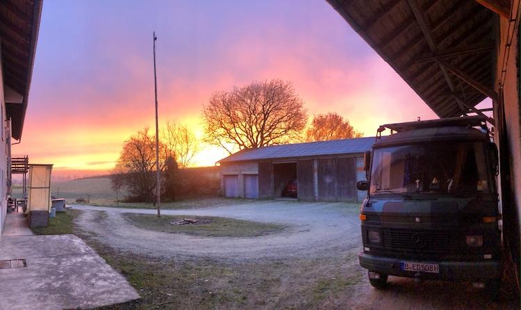 Colorful sun rise at the farm