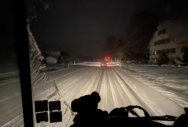 Driving through a snow storm