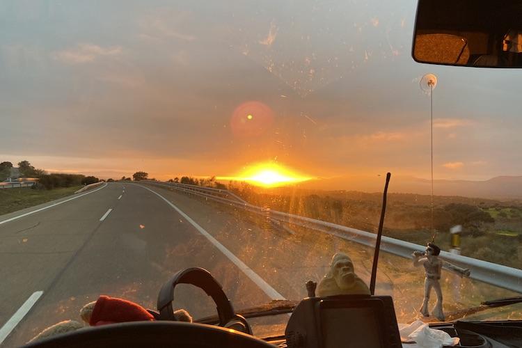 Sunrise on the highway