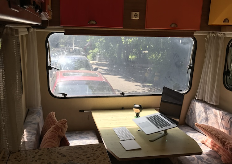 Working in the mobile office in front of my house