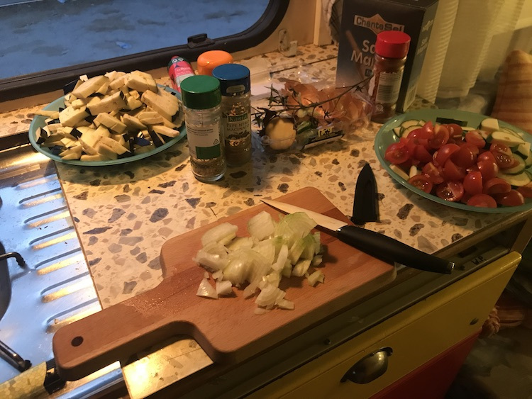Preparing a meal in my van