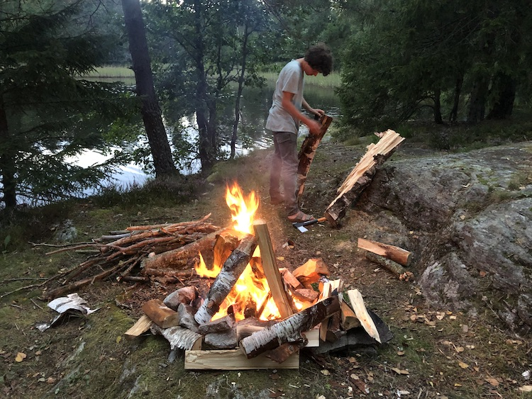 Campfire next to the river