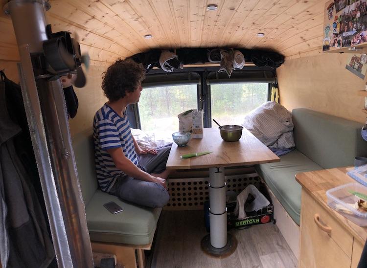 Cosy breakfast in my warm van