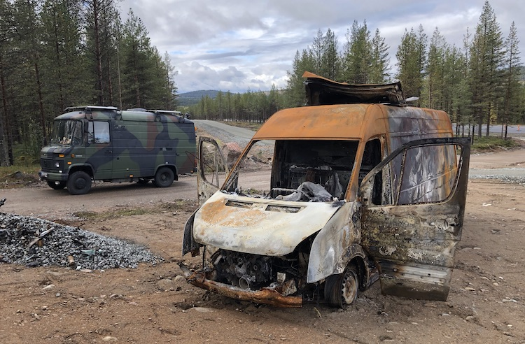 wreck of a burnt-out VW Crafter