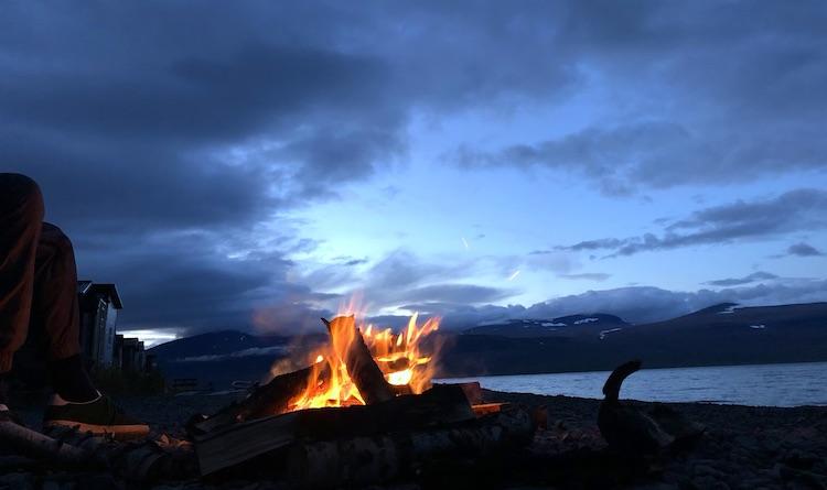 Campfire at the lakeshore