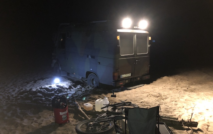 Van stuck in the sands